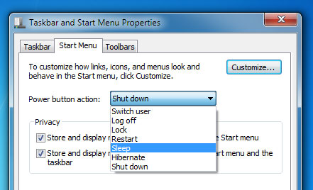 shutdown shortcut to sleep