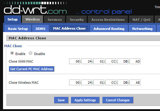dir-615 dd-wrt update clone mac