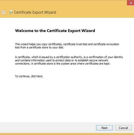 export ssl cert export wizard