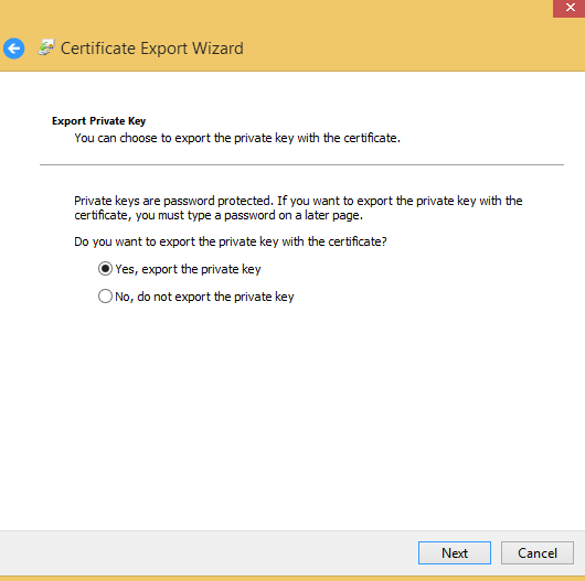 export ssl cert export private key