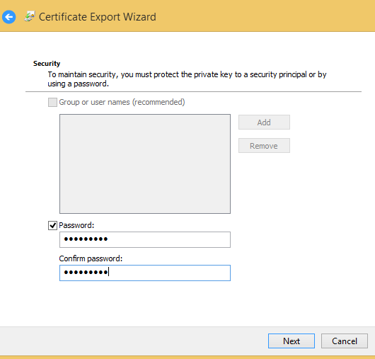 export ssl cert password