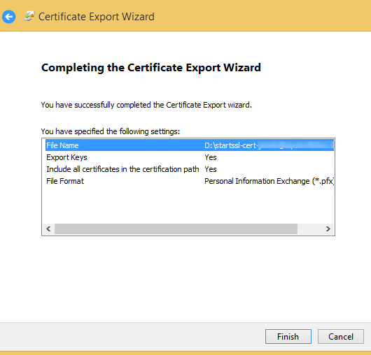 export ssl cert done