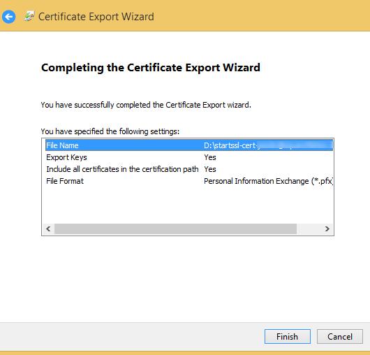 export ssl cert done